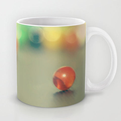 Art Coffee Cup Mug Marble Fun photography home decor Java Lovers yellow photo abstract green blue orange red green Geometric circles rainbow - Sylvia Coomes