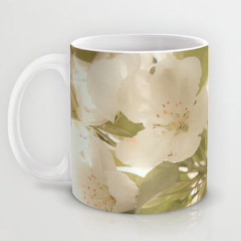 Art Coffee Cup Mug Soft White Flowers photography home decor Java Lovers Nature photo Ethereal Light Cream green leaves shabby cottage chic
