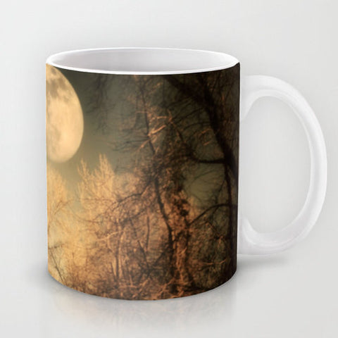 Art Coffee Cup Mug Full Moon photography Java Lovers Gothic nature photo black brown trees tree branches woods woodlands landscape steampunk - Sylvia Coomes