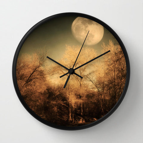 Art Wall Clock Full Moon Modern photography home decor Gothic Nature photo full moon wall art clock black brown trees tree branches woods - Sylvia Coomes