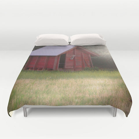 Art Duvet Cover Country Glimmer photography home decor photograph nature photo bedding full queen king bedroom red shack barn olive green - Sylvia Coomes