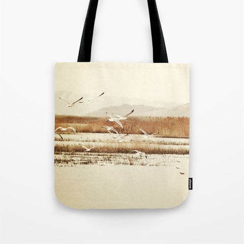 Art Tote beach Bag Nautical photography Fashion photograph photo tan Brown nature landscape neutral earth tones Seagulls birds water sepia