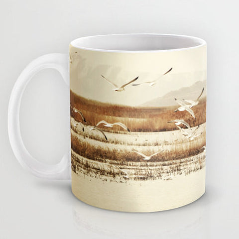 Art Coffee Cup Mug Nautical photography Java Lovers nature photo tan Brown nature landscape neutral earth tones Seagulls birds landscape - Sylvia Coomes