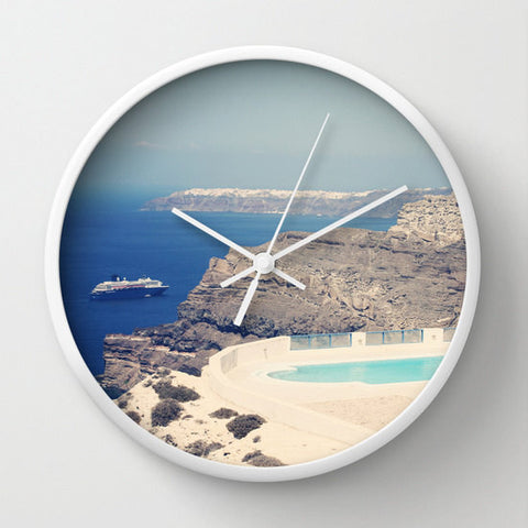 Art Wall Clock Greek Paradise Modern photography home decor Nature photo wall art clock landscape Santorini Greece blue Mediterranean sea - Sylvia Coomes