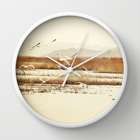 Art Wall Clock Nautical Modern photography home decor Nature photo wall art clock tan Brown landscape neutral earth tones Seagulls birds - Sylvia Coomes