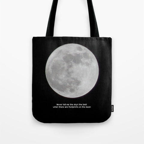 Art Tote beach Bag The Moon photography typography black white photo photograph home decor inspirational quote Fashion black sky Gothic dark - Sylvia Coomes