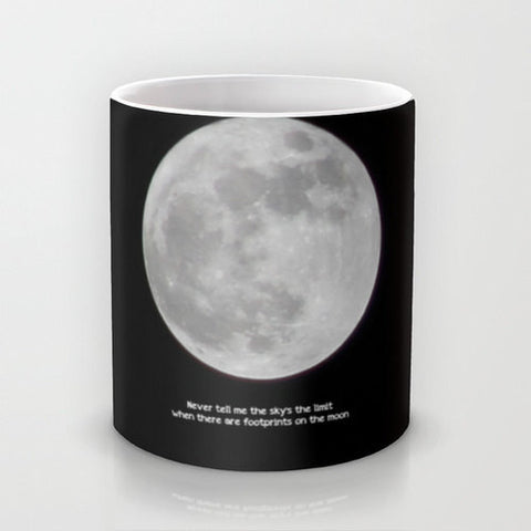 Art Coffee Cup Mug The Moon photography typography Java Lovers Gothic photo black white inspirational quote full astronomy gray grey - Sylvia Coomes