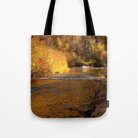 Art Tote beach Bag Rustic Fall photography Fashion photograph photo brown nature landscape mustard yellow orange autumn river gold rustic - Sylvia Coomes