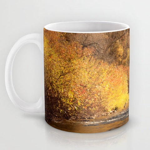Art Coffee Cup Mug Rustic Fall photography Java Lovers nature photo river Landscape mustard yellow gold orange brown tree autumn - Sylvia Coomes