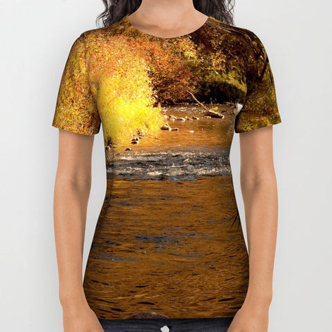 Art all over print t-shirt t shirt tshirt Rustic Fall photography photograph nature photo Landscape mustard yellow gold orange brown tree - Sylvia Coomes