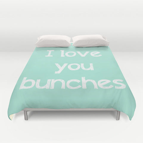 Art Duvet Cover I love you bunches typography mint green home decor white letters sweet message shabby chic bedding queen king bedroom