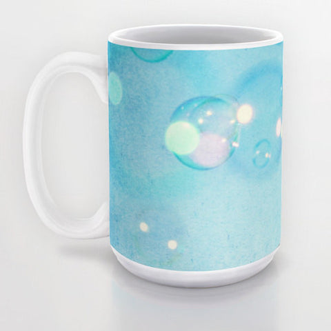 Art Coffee Cup Mug Blue Bubbles Fine Art Photography Java Lovers decor aqua sky bokeh geometric circles baby blue photo photograph texture - Sylvia Coomes