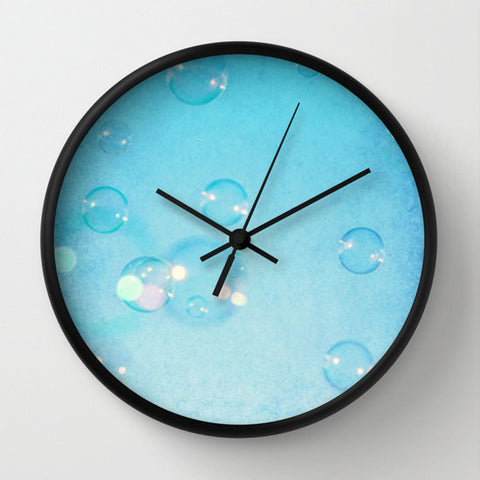 Art Wall Clock Blue Bubbles Fine Art Photography home decor aqua sky bokeh geometric circles baby blue photo photograph texture ethereal - Sylvia Coomes