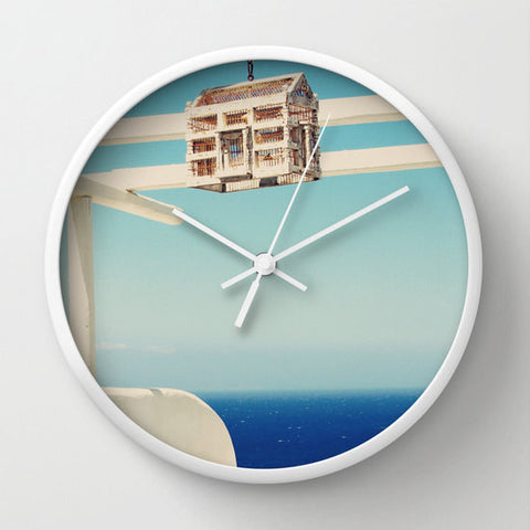 Art Wall Clock Endless Sea Fine Art Photography home decor sky royal blue photo photograph Mediterranean Greece Greek Blue white island - Sylvia Coomes