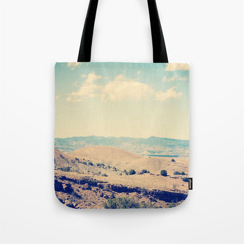 Art Tote beach Bag Wild West fine art photography summer Fashion photograph photo blue sky tan brown clouds desert landscape hazy green bush - Sylvia Coomes