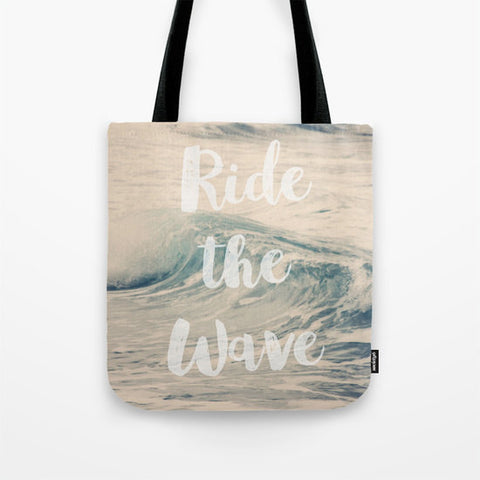 Art Tote beach Bag Ride the Wave photography typography summer Fashion photograph photo ocean blue seascape white letters nautical sea foam