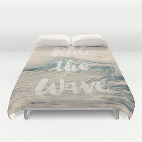 Art Duvet Cover Ride the Wave photography home decor photograph photo nautical beach house ocean blue nature bedding full queen king bedroom - Sylvia Coomes