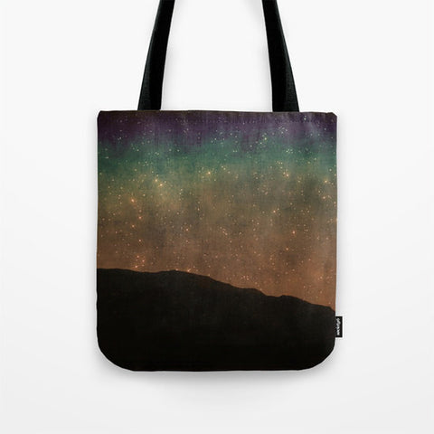 Art Tote Beach Bag Star Light photography summer Fashion photo photograph stars shining black night dark blue green rust hipster celestial - Sylvia Coomes