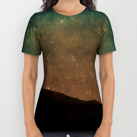 Art all over print t-shirt t shirt tshirt Star Light photography photograph nature photo Landscape stars shining black night dark blue green - Sylvia Coomes