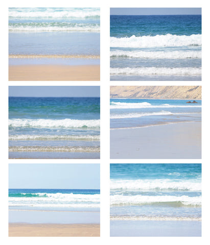 Beach Collection 6 Fine Art Photography Metallic photo wall Print Nautical photograph Set ocean home decor aqua royal blue wave waves tan - Sylvia Coomes