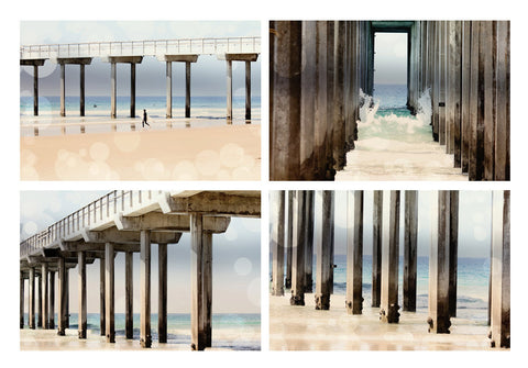 Boardwalk Collection 4 Fine Art Photography Metallic photo wall Print Nautical photograph Set ocean home decor aqua blue tan sand geometric - Sylvia Coomes