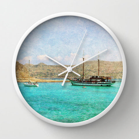 Art Wall Clock At Sea 1 Fine Art Photography home decor photo photograph Mediterranean texture ocean aqua sky blue nautical boat ship boats - Sylvia Coomes