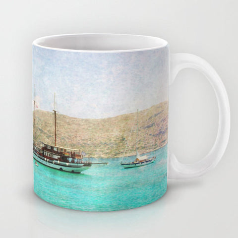 Art Coffee Cup Mug At Sea 1 Photography Java Lovers decor photo photograph Mediterranean texture ocean aqua sky blue beach nautical decor - Sylvia Coomes