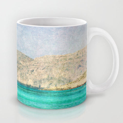 Art Coffee Cup Mug At Sea 2 Photography Java Lovers decor photo photograph Mediterranean texture ocean aqua sky blue beach nautical decor - Sylvia Coomes
