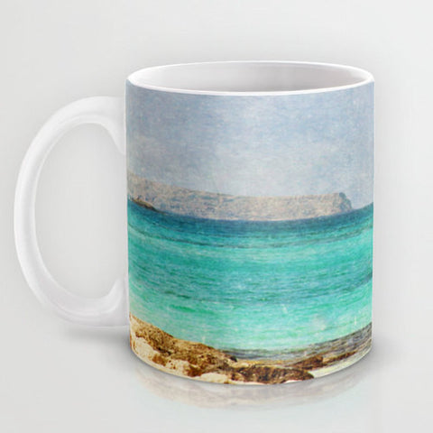 Art Coffee Cup Mug At Sea 4 Photography Java Lovers decor photo photograph Mediterranean texture ocean aqua sky blue beach nautical decor - Sylvia Coomes