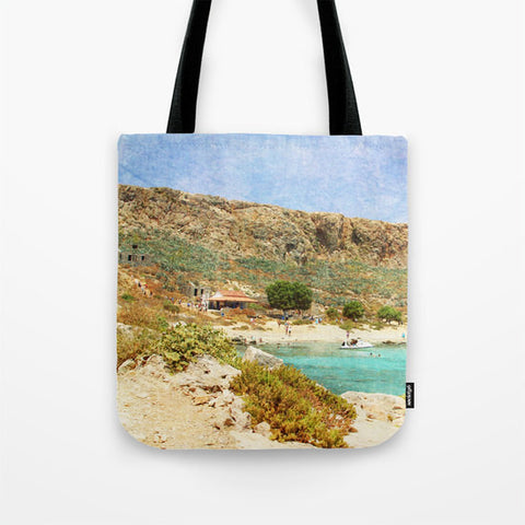Art Tote Beach Bag At Sea 3 photography summer Fashion photo photograph Mediterranean texture ocean aqua sky blue beach nautical mountain - Sylvia Coomes