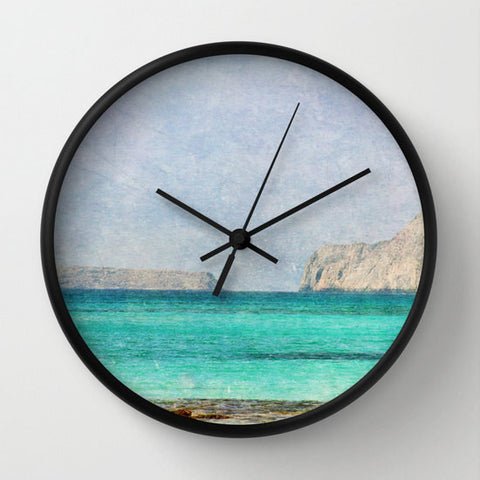 Art Wall Clock At Sea 4 Fine Art Photography home decor photo photograph Mediterranean texture ocean aqua sky blue nautical brown mountain - Sylvia Coomes