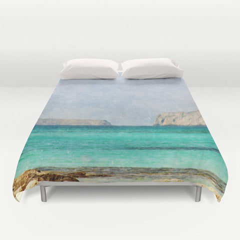 Art Duvet Cover At Sea 4 photography home decor photograph photo bedding full queen king bedroom texture ocean aqua sky blue nautical brown