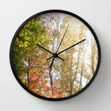 Art Wall Clock Autumn Light 1 Photography home decor forest orange yellow green trees brown branches earth tones lake house decor woods fall - Sylvia Coomes