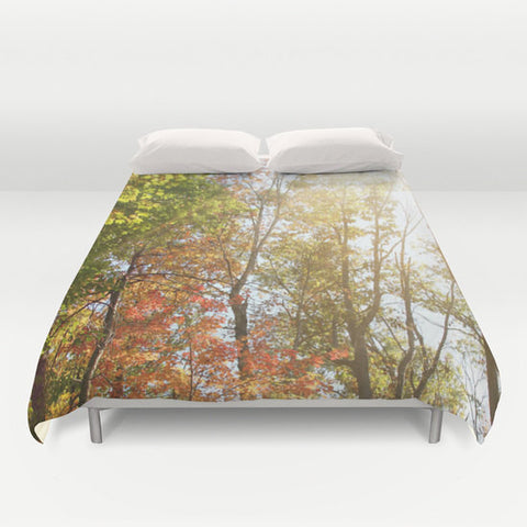 Art Duvet Cover Autumn Light 1 Modern Photography home decor Bed Cover forest orange yellow green trees brown earth tones bedding Queen king