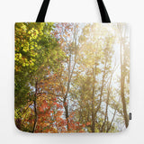 Art Tote Beach Bag Autumn Light 1 photography forest orange yellow green trees brown branches earth tones ethereal abstract lake fashion - Sylvia Coomes