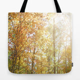 Art Tote Beach Bag Autumn Light 2 photography forest orange yellow green trees brown branches earth tones ethereal abstract lake fashion