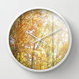 Art Wall Clock Autumn Light 2 Photography home decor forest orange yellow green trees brown branches earth tones lake house decor woods fall