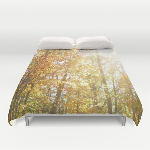 Art Duvet Cover Autumn Light 2 Modern Photography home decor Bed Cover forest orange yellow green trees brown earth tones bedding Queen king