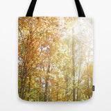 Art Tote Beach Bag Autumn Light 2 photography forest orange yellow green trees brown branches earth tones ethereal abstract lake fashion - Sylvia Coomes