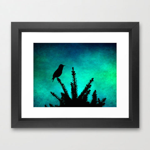 Silhouette Photography - Bird photograph - Nursery Art - Teal and Black - Aqua and Black - Textured Photo - wall Print - home decor