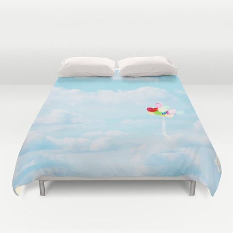 Cloud Duvet Cover - Sky Blue Bedding - Sky Photograph - Rainbow Colors - Balloon Photography - Home Decor - Queen - King - Full