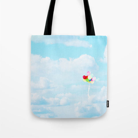 Sky Blue Tote Bag - Balloon Tote - Cloud Photography - Nature Tote - Shopping Bag - Rainbow Colors - Shopping Tote - Sylvia Coomes