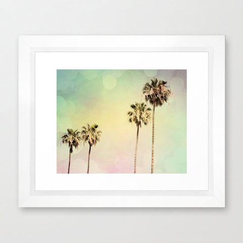 Palm Trees Photography - California photo - Beach photograph - Pastel Colors - Modern Wall Print - yellow pink blue - Beach House decor