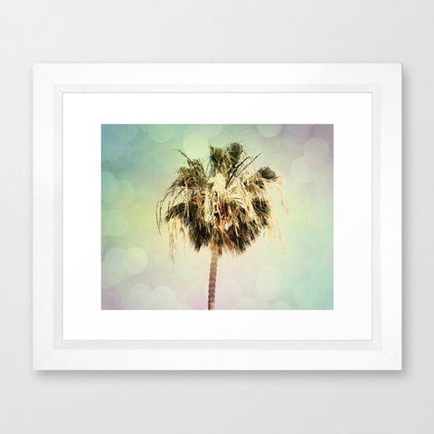 Palm Tree Photography - California photo - Beach photograph - Pastel Colors - Modern Wall Print - green pink blue - Beach House decor