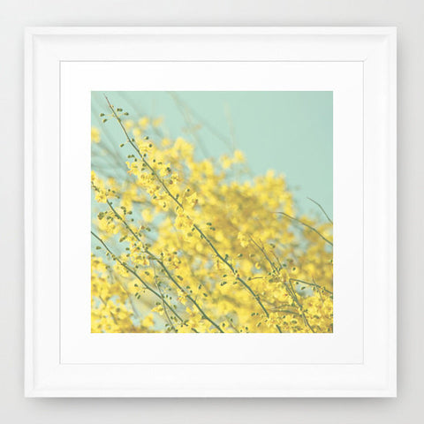Nursery Photo Print - Floral Photography - Blue and Yellow photo - Blooming flowers - Tree photograph - Pastel Colors - Cottage Chic decor - Sylvia Coomes