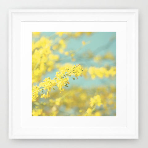 Square Abstract Photograph - Blooming tree photo - Yellow and Blue photograph - Yellow Flowers Photography - Cottage Chic decor