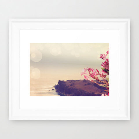 Beach Flower Photo - Cottage Chic Photography - Mediterranean Photograph - Landscape photo - Landscape Art Print - Pink Tan Gray