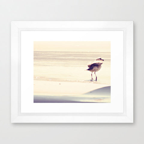 Seagull Photo - Beach Photography - Bird photograph - Nautical Art - Beach House Decor - Earth tones - Minimalist