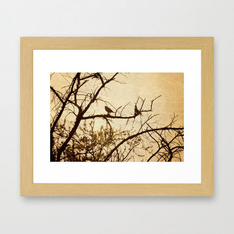 Gothic Bird Photo - Silhouette Art - Tree Photography - gold brown photograph - Earth tones