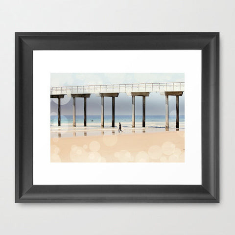 Beach Photography - Ocean Photograph - Boardwalk Art Print - Nautical Photography - Geometric photograph - Blue tan Gray - Sylvia Coomes